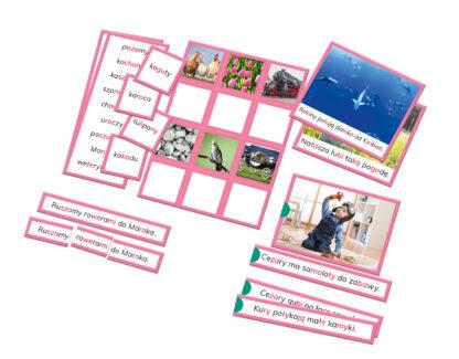 zestaw kart edukacyjnych Montessori nauka czytania
